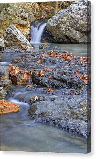 Autumn Leaves At Little Missouri Falls - Arkansas - Waterfall Canvas Print