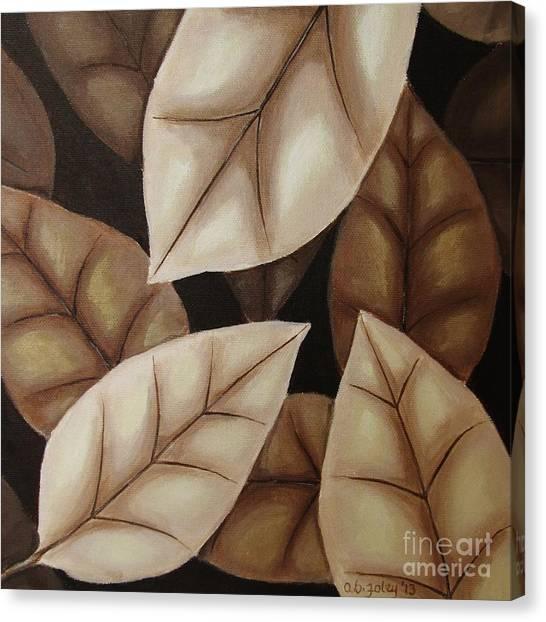 Autumn Leaves In Sepia Canvas Print by Anna Bronwyn Foley