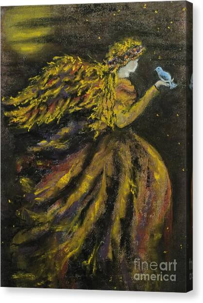Autumn Moon Angel Canvas Print