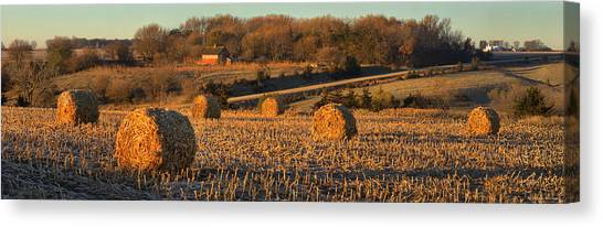 Autumn Morning Bales Canvas Print