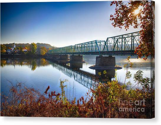 Autumn Morning View Of The New Hope Lambertville Bridge  Canvas Print by George Oze