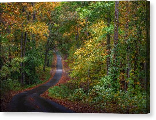 Autumn Mountain Road Canvas Print by William Schmid