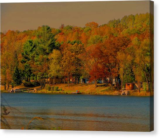 Autumn On Mt Noris Lake Canvas Print by Victoria Sheldon