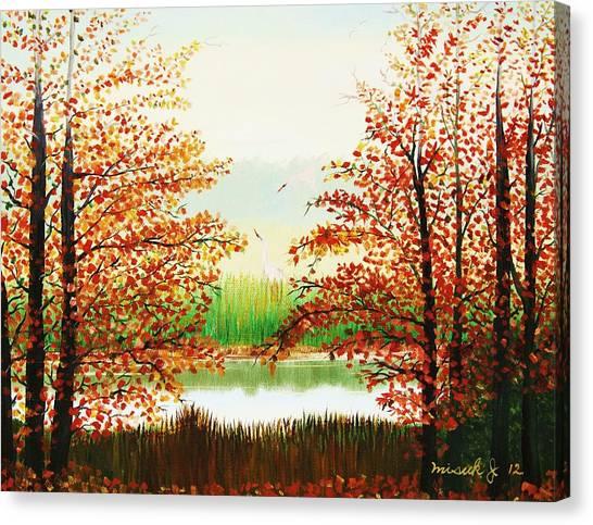 Autumn On The Ema River Estonia Canvas Print