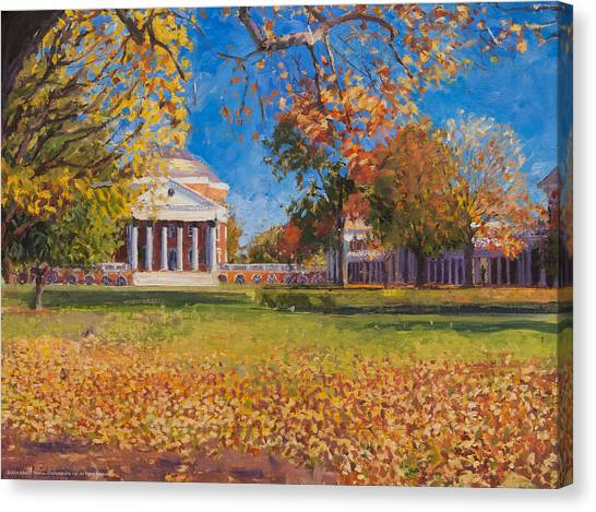 University Of Virginia Canvas Print - Autumn On The Lawn by Edward Thomas