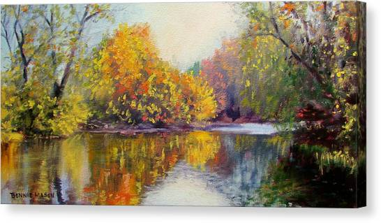 Autumn Scene Canvas Print - Autumn On The River by Bonnie Mason