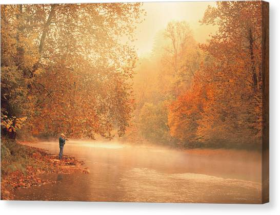 Autumn On The River Canvas Print by Dorothy Walker