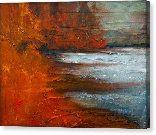 Canvas Print featuring the painting Autumn On The Sound by Jani Freimann