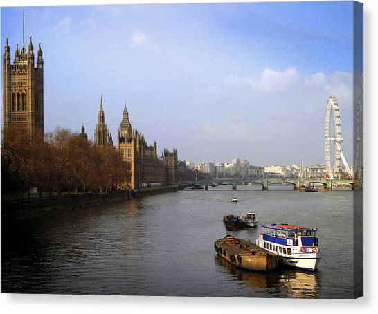Autumn On The Thames    Canvas Print by Stephen Norris