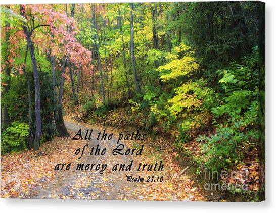 Autumn Path With Scripture Canvas Print