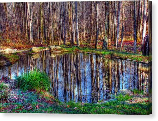 Autumn Pond Reflections Canvas Print