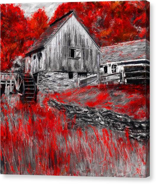 Red Maple Tree Canvas Print - Autumn Promise- Red And Gray Art by Lourry Legarde