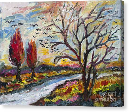 Autumn Red And Bird Migration Canvas Print