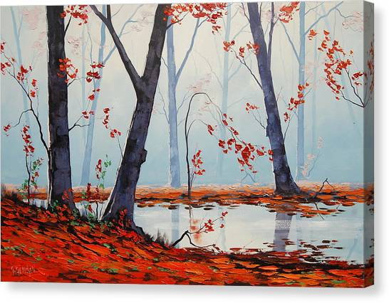 Amber Canvas Print - Autumn River Painting by Graham Gercken
