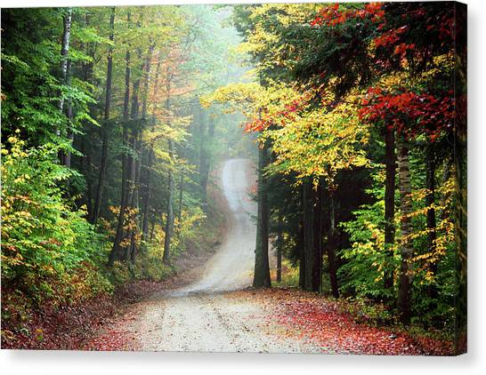 Autumn Road In Rural New Hampshire Canvas Print