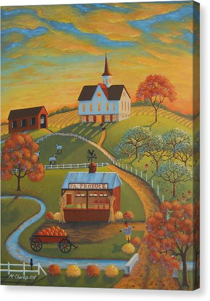 Amish Canvas Print - Autumn Road by Mary Charles