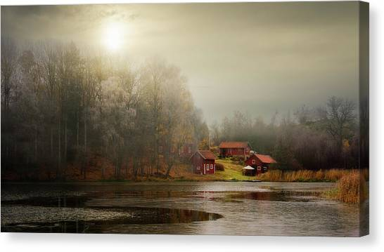 Swedish Canvas Print - Autumn Sheds by Kent Olsson