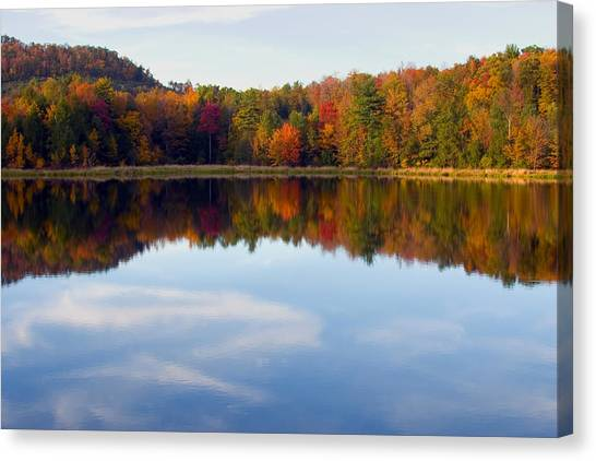 Autumn Shoreline Reflection Canvas Print