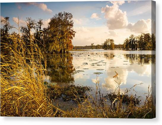 Atchafalaya Basin Canvas Print - Autumn Sky In Lake Martin by Ellie Teramoto