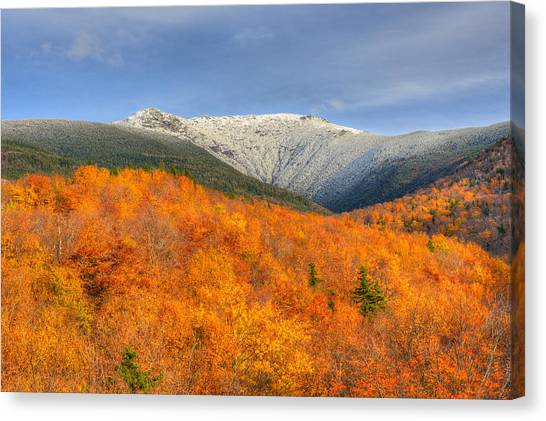 Autumn Snow On Mount Lafayette Canvas Print