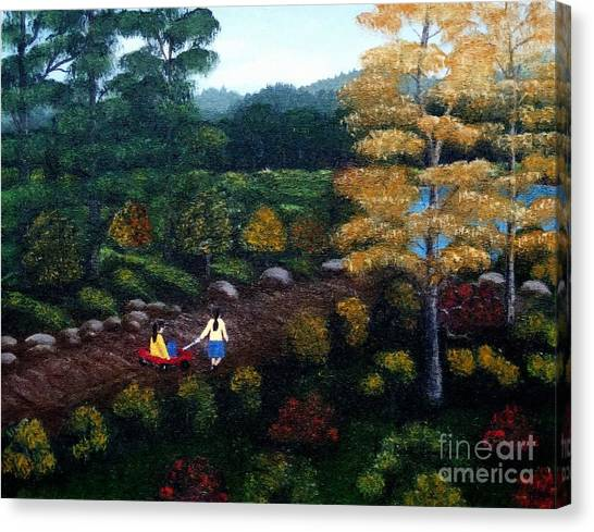 Big Sister Canvas Print - Autumn Stroll  With Paint Strokes by Barbara Griffin