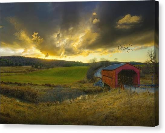 Sunset Horizon Canvas Print - Autumn Sunset Over Meech Creek And by Richard Desmarais