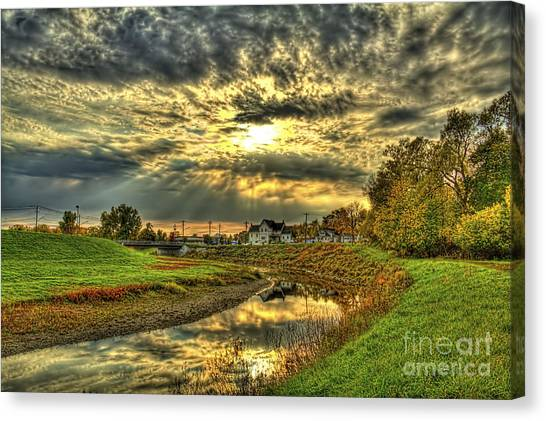 Autumn Sunset Reflection Canvas Print