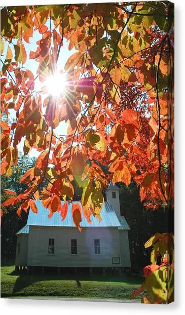 Autumn Sunshine Missionary Baptist Church Canvas Print by John Saunders