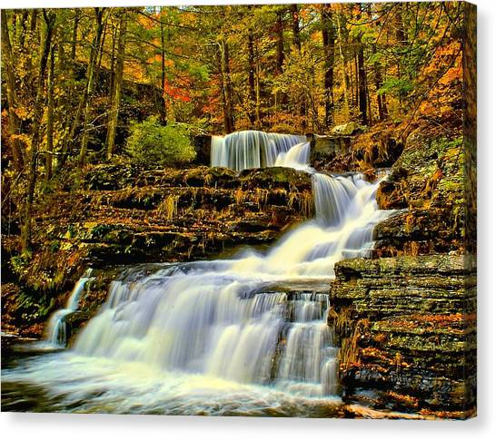 Autumn By The Waterfall Canvas Print