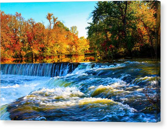 Amazing Autumn Flowing Waterfalls On The River  Canvas Print