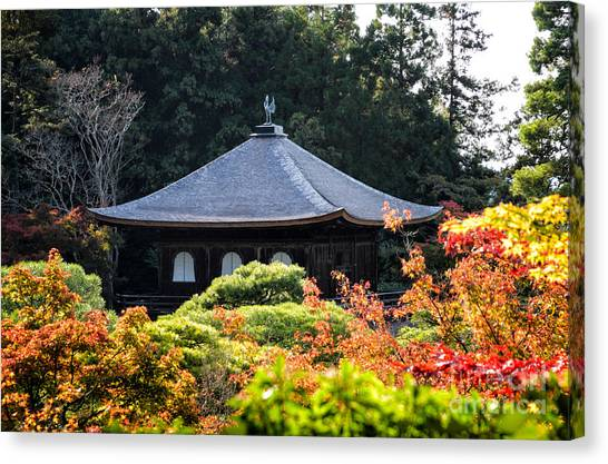 Autumnal Temple - Ginkaku-ji - Temple Of The Silver Pavilion In Kyoto Japan Canvas Print