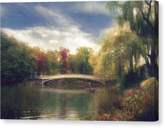 Autumn's Afternoon In Central Park Canvas Print by John Rivera