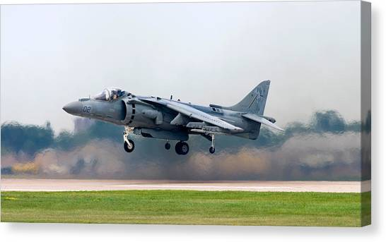 Acrobatic Canvas Print - Av-8b Harrier by Adam Romanowicz