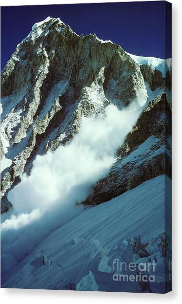 Mount Everest Canvas Print - Avalanche On Mt Everest by Art Twomey