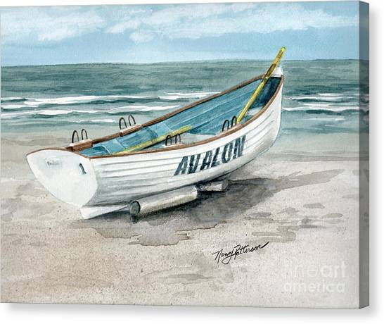 Lifeguard Canvas Print - Avalon Lifeguard Boat  by Nancy Patterson