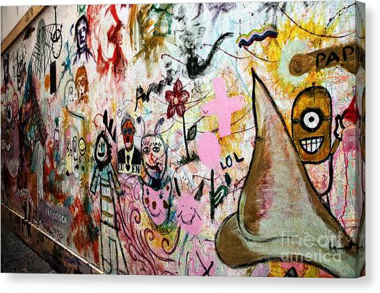 Graffiti Walls Canvas Print - Aveiro Graffiti by John Rizzuto