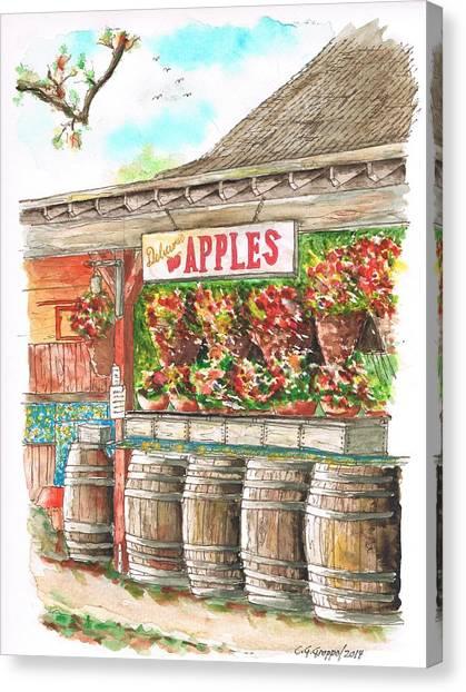 Avila Valley Barn With Delicious Apples Sign In Avila Beach - California Canvas Print