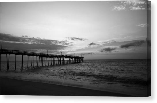 Canvas Print featuring the photograph Avon Pier In Outer Banks Nc by Kelly Hazel