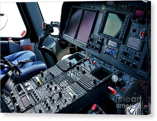 Cockpits Canvas Print - Aw139 Cockpit by Olivier Le Queinec