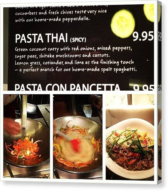 Spaghetti Canvas Print - Awesome Dinner. #pastathai #vapiano by Rads Kowthas
