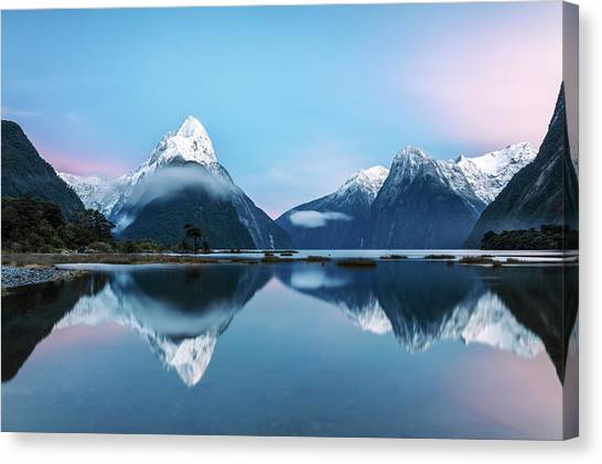 Awesome Sunrise At Milford Sound, New Canvas Print by Matteo Colombo