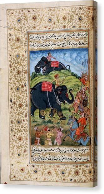 Islam Canvas Print - Awrangzib Spears An Elephant by British Library