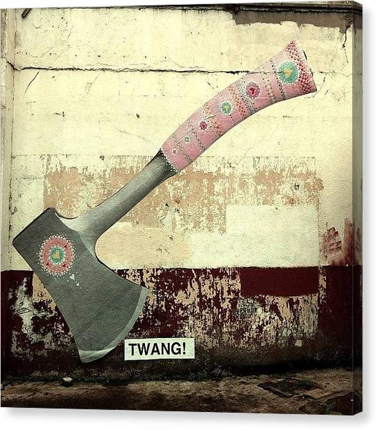 Axes Canvas Print - Axe #streetart #albanyrd #cardiff #axe by Gareth Thompson