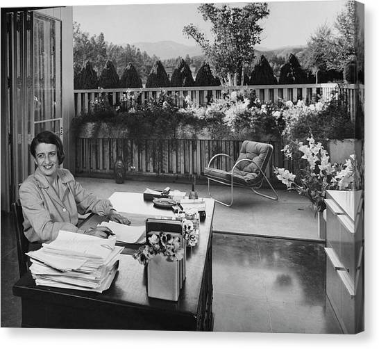 Ayn Rand At Her Desk Canvas Print by Julius Shulman