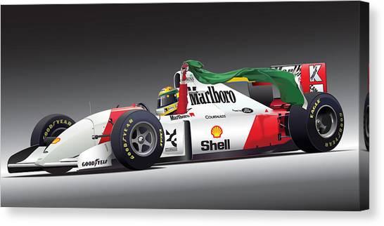 Grand Prix Racing Canvas Print - Ayrton Senna Da Silva Art by Alain Jamar