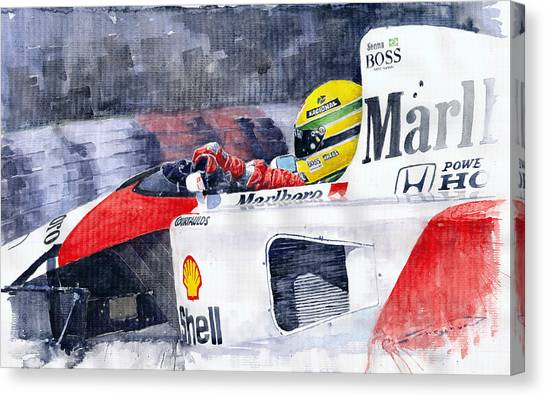 Sports Cars Canvas Print - Ayrton Senna Mclaren 1991 Hungarian Gp by Yuriy Shevchuk