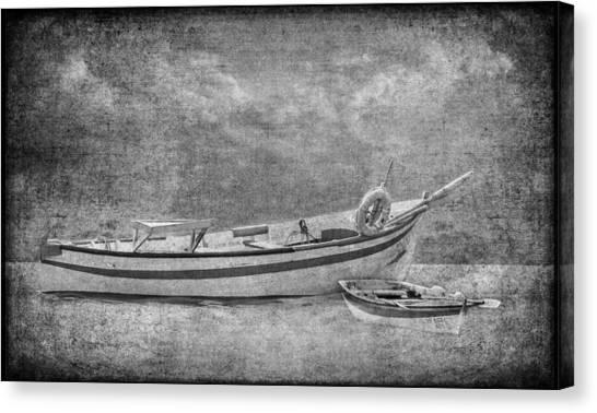 Azorean Fishing Boats B/w Canvas Print