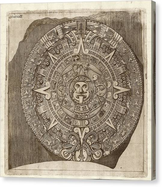Astrology Canvas Print - Aztec Calendar Stone by Library Of Congress