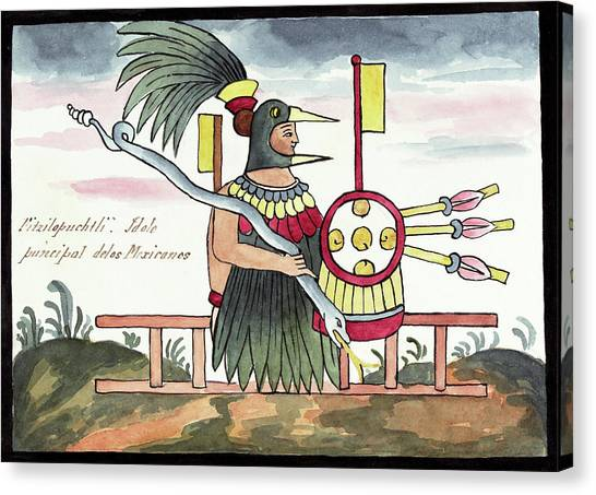 God Of War Canvas Print - Aztec Deity Huitzilopochtli by Library Of Congress