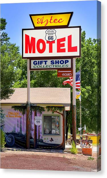 Historic Route 66 Canvas Print - Aztec Motel -  Seligman by Mike McGlothlen